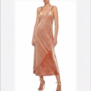 NWT A.L.C. Annex V-Neck Velvet Midi Dress in Pink